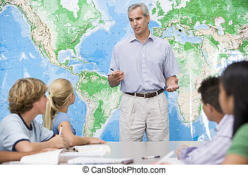 escola, crianças, seu, professor, alto, escola,...