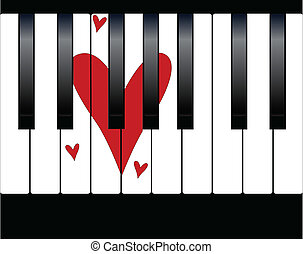Love Piano - Black and white piano keys with a large love...