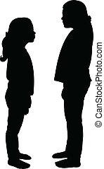 sisters looking each other,silhouette vector