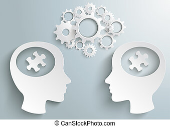 Two Heads With Hole Gears Puzzle - Two white heads with...