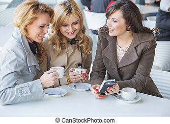 Female friends at the cofee time - Female friends at the...