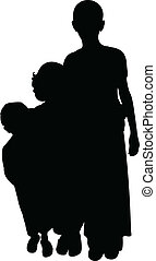 poor children silhouette vector