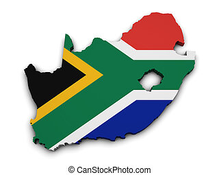 South Africa Flag Map Shape - Shape 3d of South Africa map...