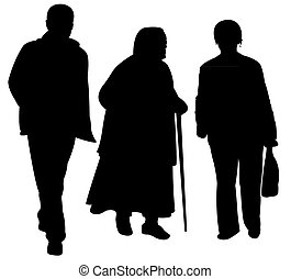 family walking silhouette