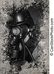 Danger Pollution, Man with gas black mask