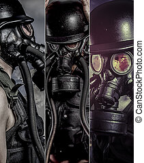 Pollution, Man with gas black mask