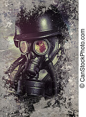 Nuclear war, Man with gas black mask