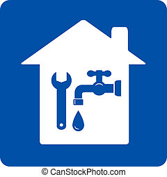 blue plumbing symbol with house, tap and wrench