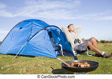 homem, acampamento, Ao ar livre, Cozinhar