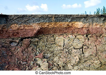 The curb erosion from storms. To indicate the layers of soil...