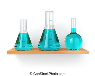 Chemical flasks on the shelf. Reagent in lab, 3d