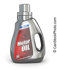 Motor oil canister on white isolated background. 3d