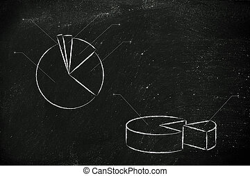 business stats: pie chart graph - pie chart with space for...