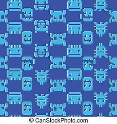 Computer game graphic seamless pattern on a blue background.