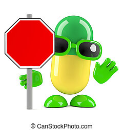 3d Pill roadworks sign - 3d render of a pill with a blank...