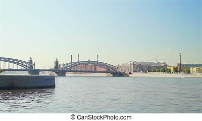 Beautiful waterscape with Bolsheokhtinsky bridge across Neva...