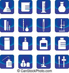química, cristalería, botón