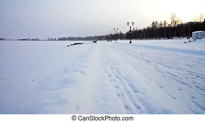 Onega lake embankment in Petrozavodsk, Russia -...