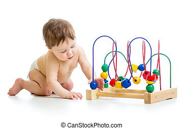 baby with color educational toy