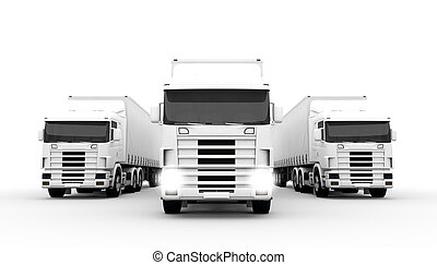 White trucks - White transport trucks isolated on a white...