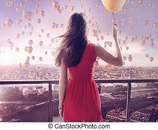 jovem, mulher, olhar fixamente, milhares, balões