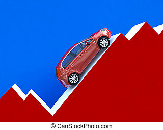 car stat business - 3d illustration of car over financial...