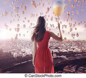 Young lady and the city of the balloons - Young lady and the...