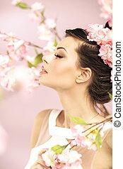 relaxado, menina, cheirando, primavera, flores