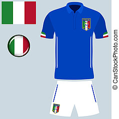 Italy Football Jersey - Abstract vector image of the Italian...