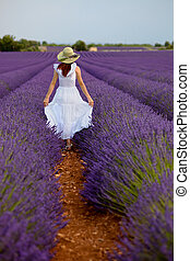 Beautiful woman in field of lavender in Provence, France. -...