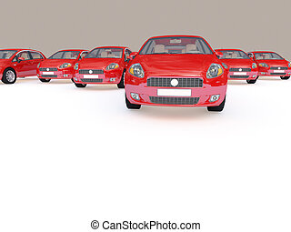 group of red cars - 3d illustration of modern red cars on...