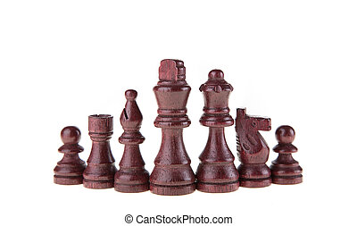 Wooden chess pieces - Chess pieces isolated on white...