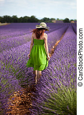 Romantic woman takes a walk in field of lavender, shown from...