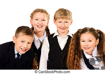 classmates - Group of cheerful schoolchildren standing...