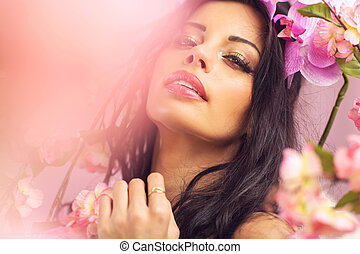 Young woman with the big shiny lips