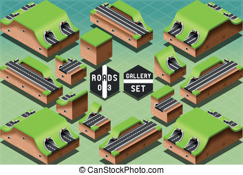 Isometric Galleries Tunnels and Sections - Detailed...