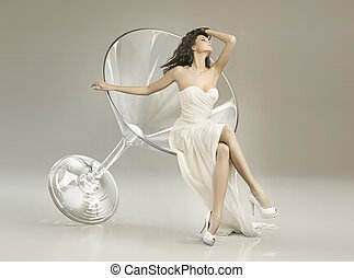 Conceptual photo of woman in the glass