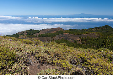 Volcanic landscape of La Palma with a view at Tenerife 100...