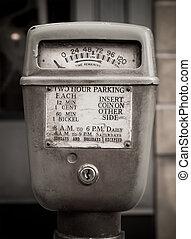 Vintage parking meter at street