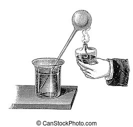Chemistry: heat dilates air - Heating a glassball tube, air...