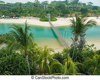 Suspension Bridge in Palawan Beach, Sentosa