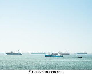 Group of transport ship waiting for load