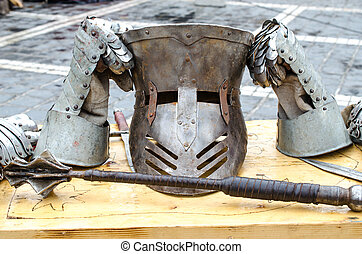 Armor and weapons at Medieval festival, Brasov - Medieval...