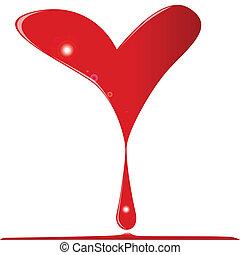 Bleeding Heart - A broken heart bleading a large drop of...