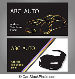 Business card car - design business card for auto, vector
