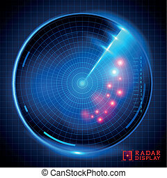 Blue Vector Radar Display - A blue vector radar display...