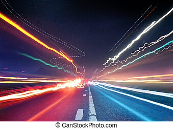 Urban Traffic Light Trails - Light trails from transport -...