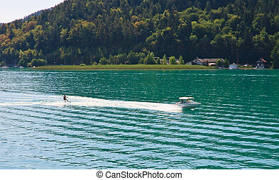 Water skiing on Lake Worth Worthersee Austria