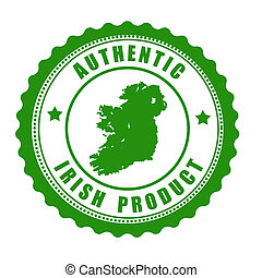 Authentic irish product stamp or label with map of Ireland...