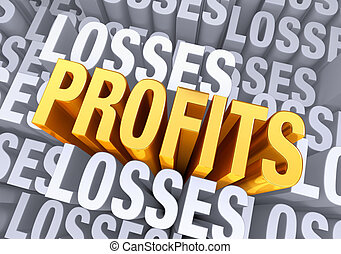 "Reaching Profitability - A bold, bright gold ""PROFITS""..."